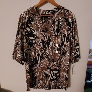 Alfani NWT Multi Color Short Sleeve Blouse - 2
